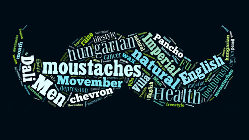 Moustaches shaped word cloud